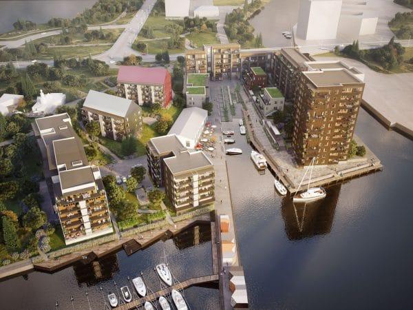3d bild över nyproducerade lägenheter kanikenäsholmen karlstad